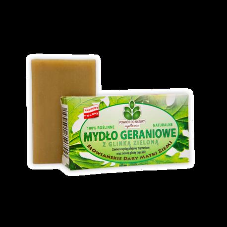 Naturalne mydło geraniowe z zieloną glinką, 100 g, Powrót do natury (1)